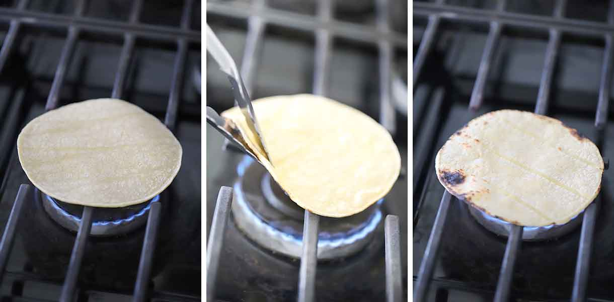 How to toast corn tortillas over gas burners.