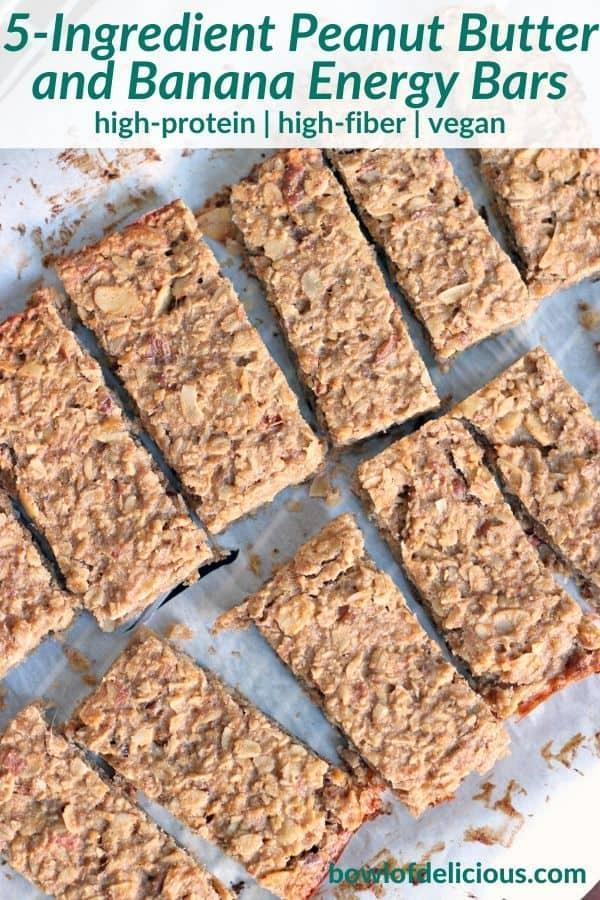 peanut butter banana energy bars pinterest image