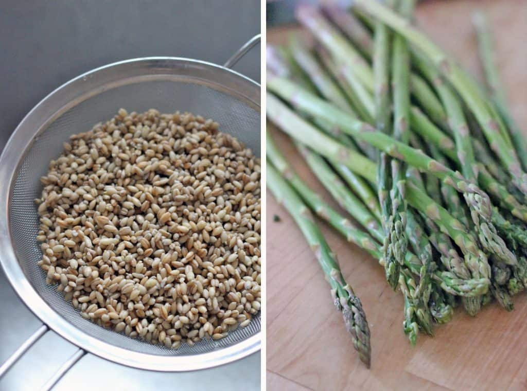 Two photos side-by-side: the left photo shows barley in a wire colander, and the right shows fresh asparagus spears on a wooden cutting board.