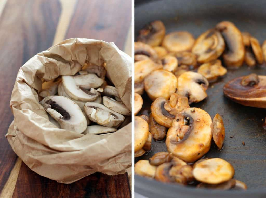 Photo collage showing two photos side by side. On the left are chopped raw mushrooms, on the right are chopped mushrooms being cooked in a pan.