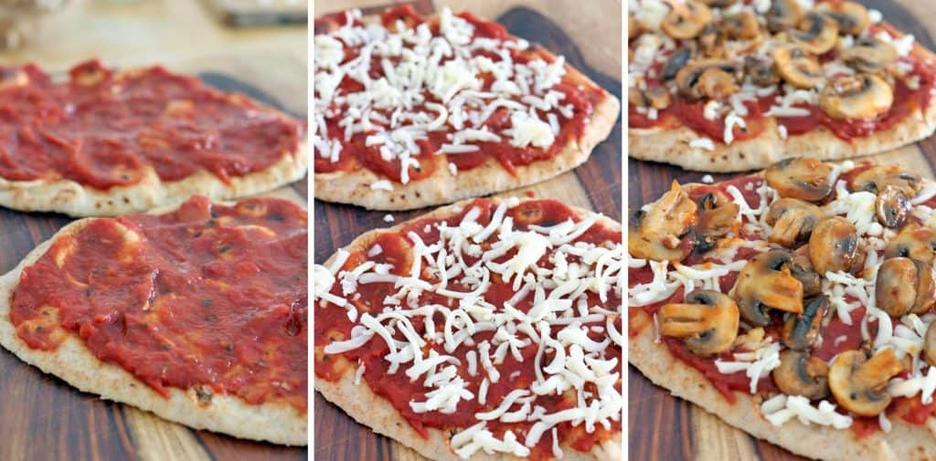 Photo collage showing process photos of buffalo mushroom naan pizza being topped with pizza sauce, then cheese, then mushrooms.
