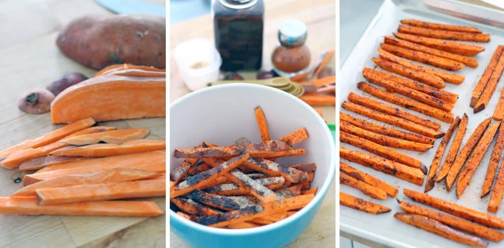 These chili garlic sweet potato fries with lemon garlic mayo take only 5 minutes to prep! A delicious, healthy, and satisfying side dish with just the right balance of flavors.