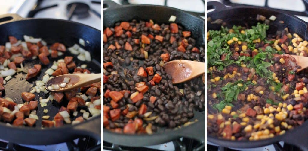 Photo collage showing three photos that depict the process of cooking black beans. The first shows chopped onions and chorizo in a pan, the second shows beans added to the pan, and the third shows herbs and corn added to the pan.