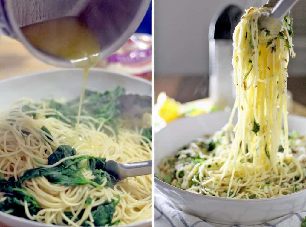 Photo collage showing two photos side by side. The left photo shows browned butter being poured into pasta with wilted greens, and the right shows tongs lifting pasts up out of a white bowl.