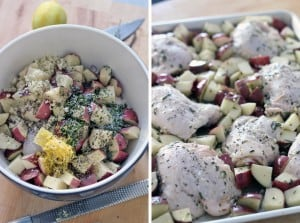 Easy Roast Chicken and Potatoes Sheet Pan Dinner- Chicken thighs and potatoes are mixed with lemon, garlic, and rosemary for a super simple and super delicious sheet pan dinner! This seriously could NOT be easier to make.