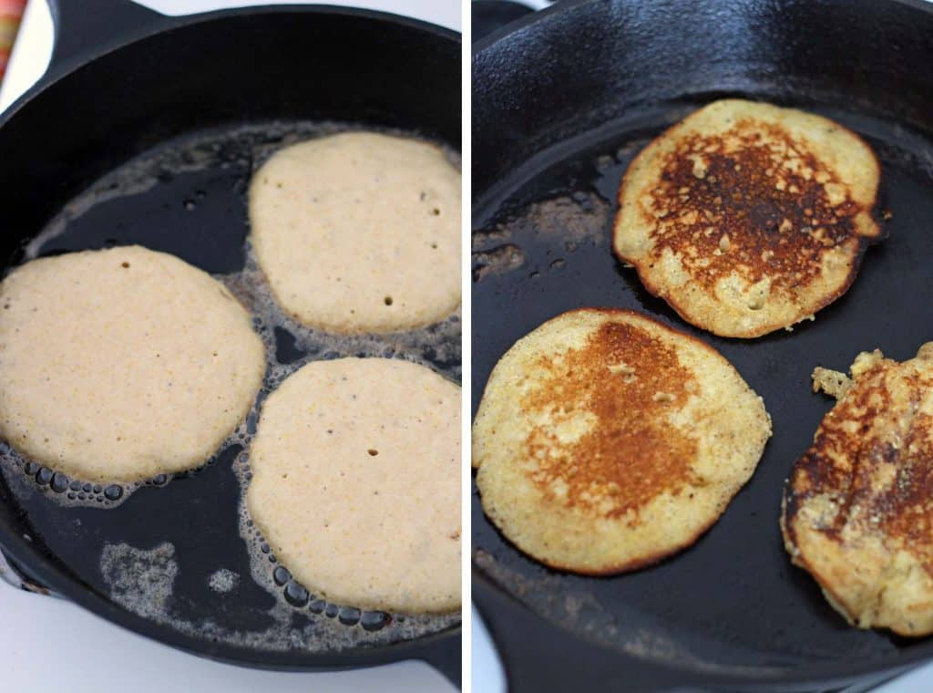 Two photos arranged side-by-side, showing raw pancake batter when it is poured into a hot cast-iron skillet, and then showing the batter after it has been cooked on one side and flipped over.