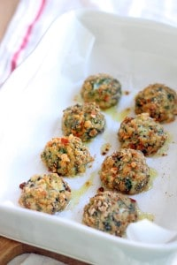 These Oven-Baked Spinach and Barley Arancini are kid friendly, healthy, delicious, and super easy to make! Plus, you can freeze them for later. If you're looking for a healthy alternative to frozen chicken nuggets, this is it!