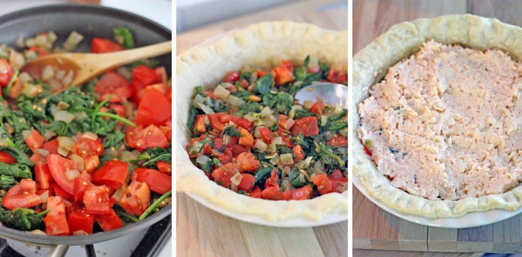 Three photos displayed side-by-side, which show the process of sautéing the filling, spreading the filling in the pie crust, and covering the filling with cheese mixture.