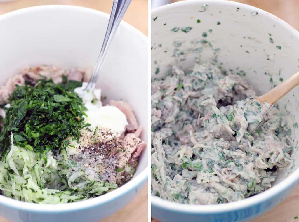 Two photos arranged side-by side, showing the process of mixing the ingredients for tzatziki chicken salad.
