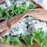 Tzatziki chicken salad in a pita pocket with lettuce.