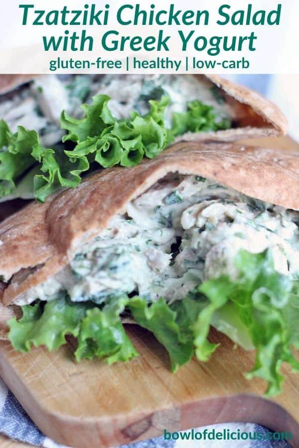 pinterest image for tzatziki chicken salad