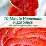 Pinterest image for homemade pizza sauce.