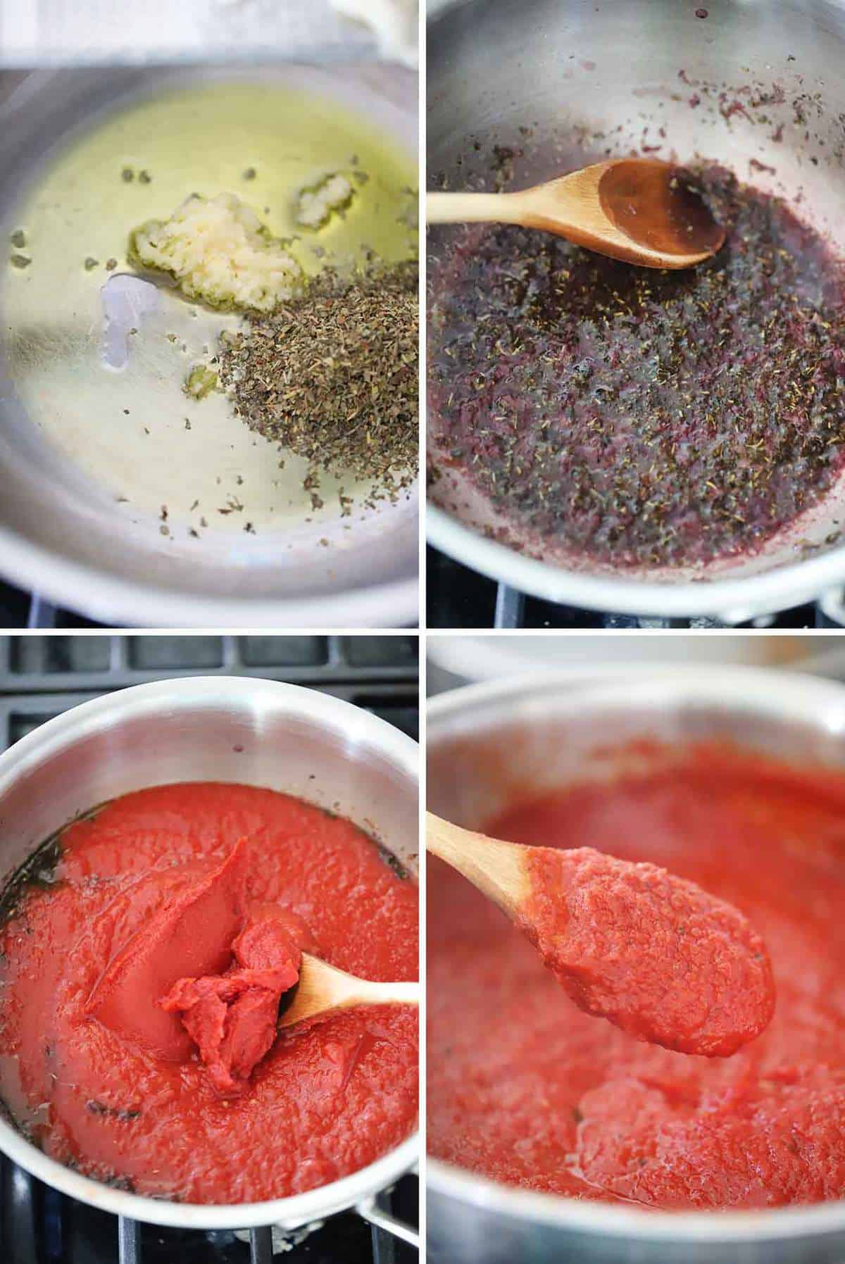 How to make homemade pizza sauce using red wine, herbs, garlic, and tomato paste.