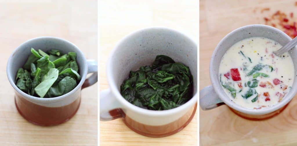 Three photos arranged horizontally. On the left is a mug holding fresh spinach, in the middle is the same mug after the spinach has been wilted, and on the right is the same mug with rest of quiche ingredients added.