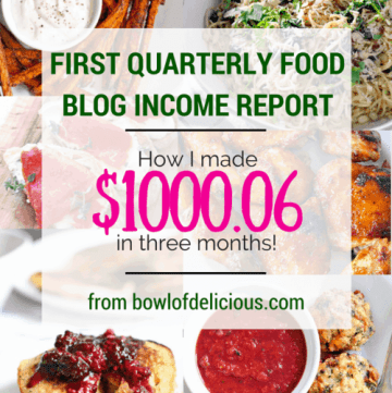 "Photo collage showing a variety of Bowl of Delicious meals arranged in a 2 by 3 grid, with text overlaid that reads, ""First Quarterly Food Blog Income Report: How I made $1000.06 in three months! From bowlofdelicious.com."""