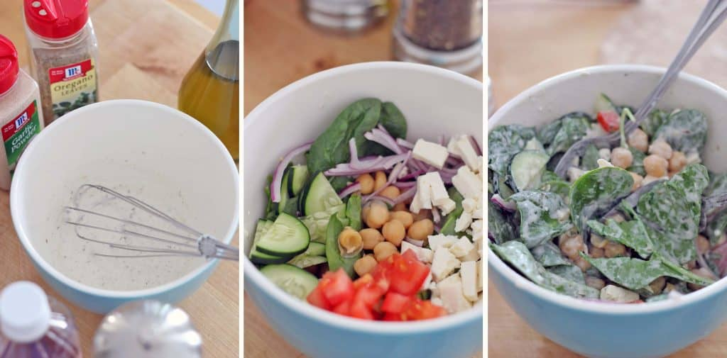 Three photos arranged horizontally. Each photo shows the process of mixing the Greek dressing with the wrap fillings: on the left is a bowl holding the dressing, in the middle is the same bowl with wrap fillings added, and on the rigth is the same bowl with the wrap fillings and Greek dressing mixed together.