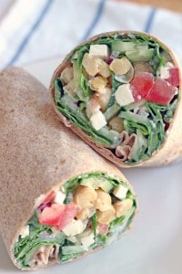 Mediterranean Chickpea and Feta Salad Wrap with Creamy Greek Dressing 2