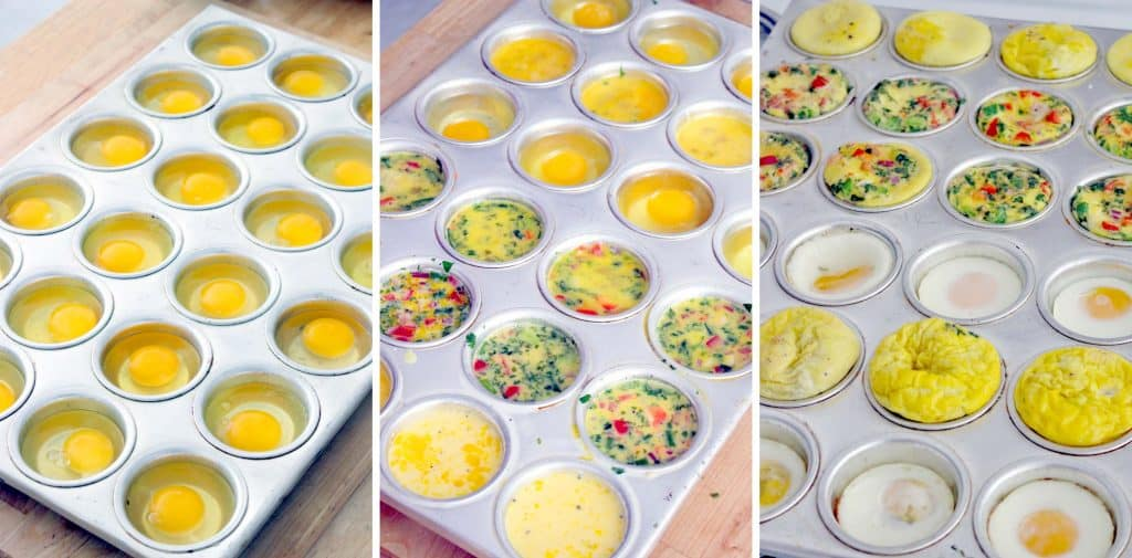 Photo collage showing three photos side-by-side. The left photo shows raw eggs that have been cracked into a muffin pan. The middle shows those same raw eggs after ingredients have been mixed in. The left photo shows those same eggs after being baked.