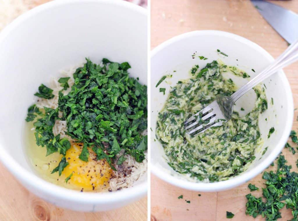 Two photos showing the process of mixing eggs with chopped herbs and other ingredients.