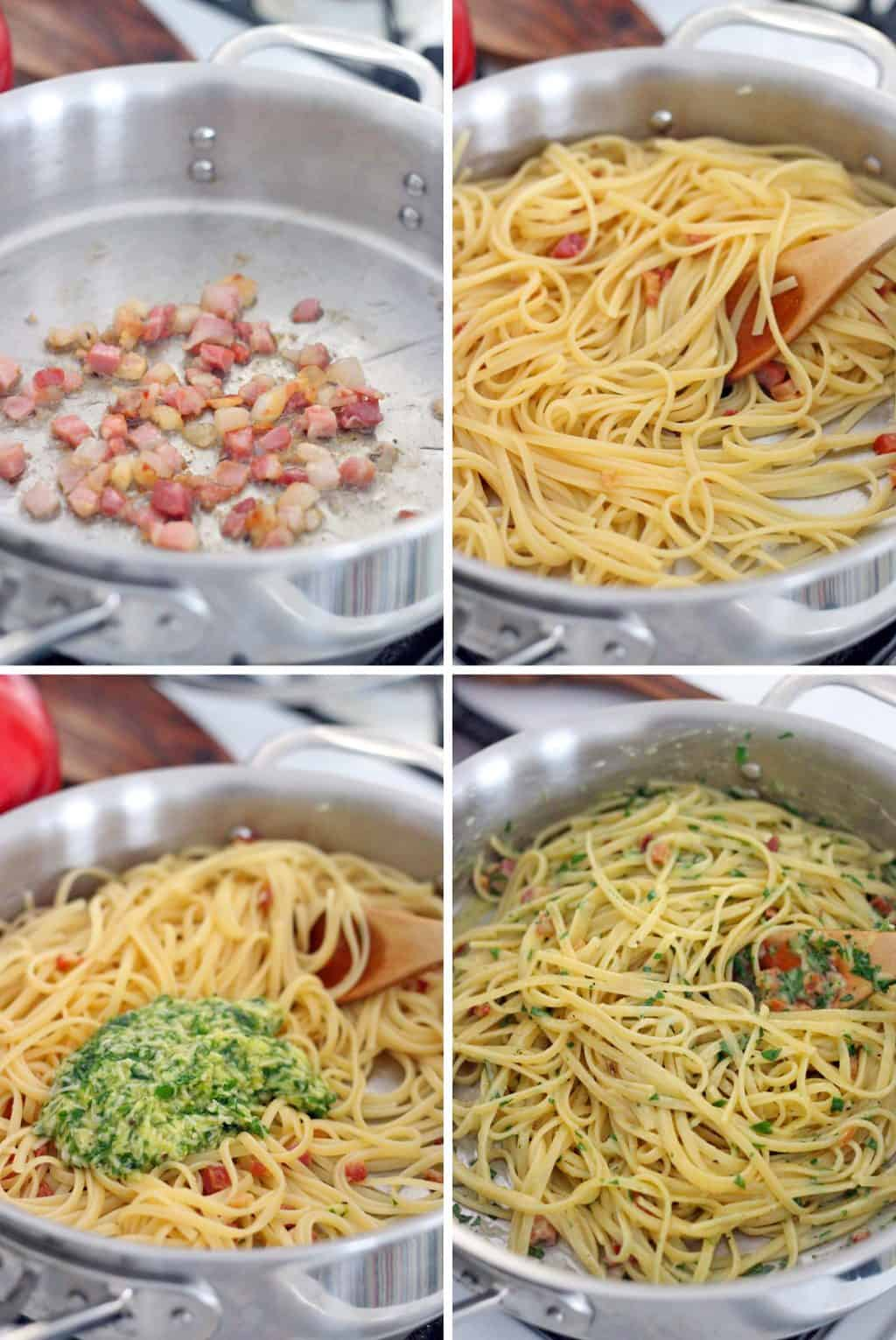 Photo collage showing four photos, each depicting the steps to making Spaghetti alla Carbonara.