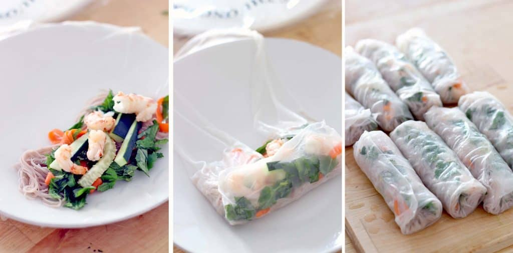 Three photos arranged side-by-side. The left photo shows an open spring roll wrapper laid out on a white plate, with a small pile of fillings on the inside. The middle photo shows the wrap halfway rolled up, with three of the four sides tucked in. The final photo shows two rows of four spring rolls wrapped up, set on a wooden cutting board.