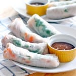 A white plate holds four fresh spring rolls and a ramekin of peanut dipping sauce. In the background is another plate holding spring rolls and another ramekin of sauce.
