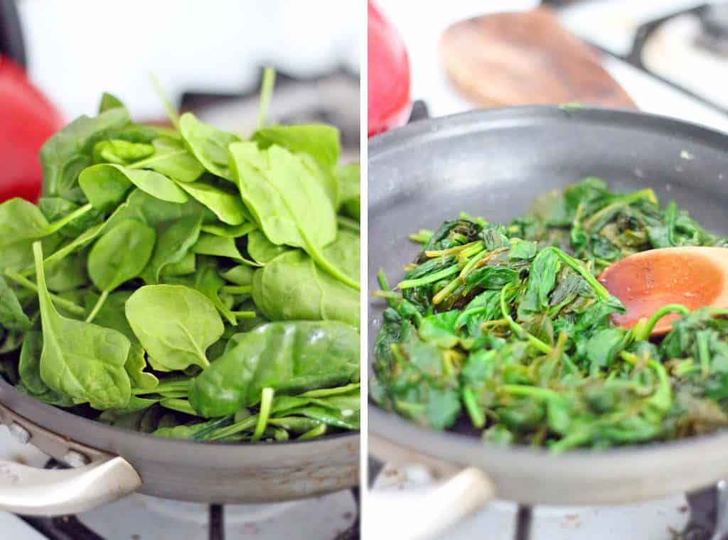 5-Minute Sauteed Spinach with Garlic and Lemon | The BEST and FASTEST way to use up almost wilted spinach... or any other greens! Bright and savory with lemon and garlic flavors- the perfect side to almost any meal.