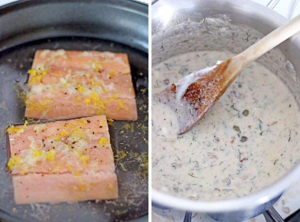 Two photos side-by-side. On the left salmon fillets sizzle in a pan, and on the right a wooden spoon stirs cream sauce.