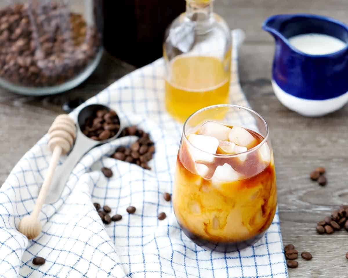 Cold brewed iced coffee is smooth, delicious, and bold. And when whole milk and honey are added, you have a delicious, refreshing treat that's refined-sugar free!