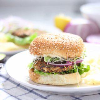 Sweet Potato and Black Bean Veggie Burgers (Vegan optional!)