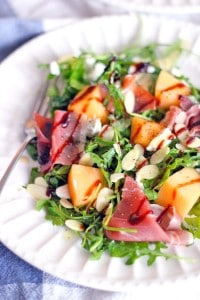 Arugula, Cantaloupe, and Prosciutto Salad with Goat Cheese and Almonds 2