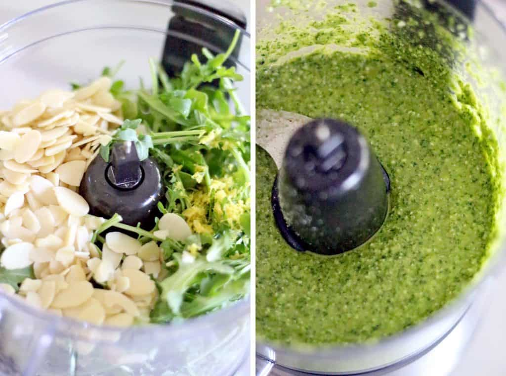 This Lemon Arugula Pesto comes together in five minutes! It's healthy, peppery, bright, fresh, and has a little bit of a kick to it!