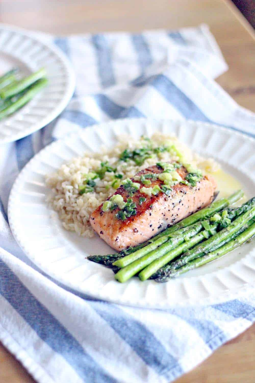 Salmon with Scallion Butter | The BEST way to eat salmon in the world, and only THREE INGREDIENTS! Takes ten minutes and it's so easy, but seems fancy.