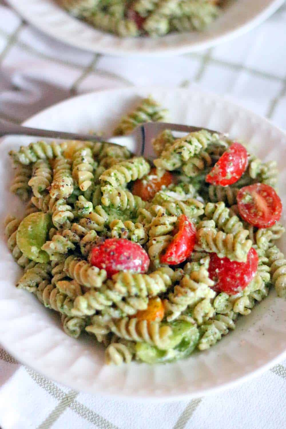 Four Ingredient Pesto Pasta Salad | All you need to make this healthy, light, and delicious pasta salad is 15 minutes and four ingredients! Great for a picnic or a summer party.