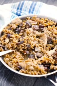 This creamy, simple, and comforting chicken and mushroom stroganoff is healthy, comes together in only 20 minutes, and is the perfect weeknight comfort food!