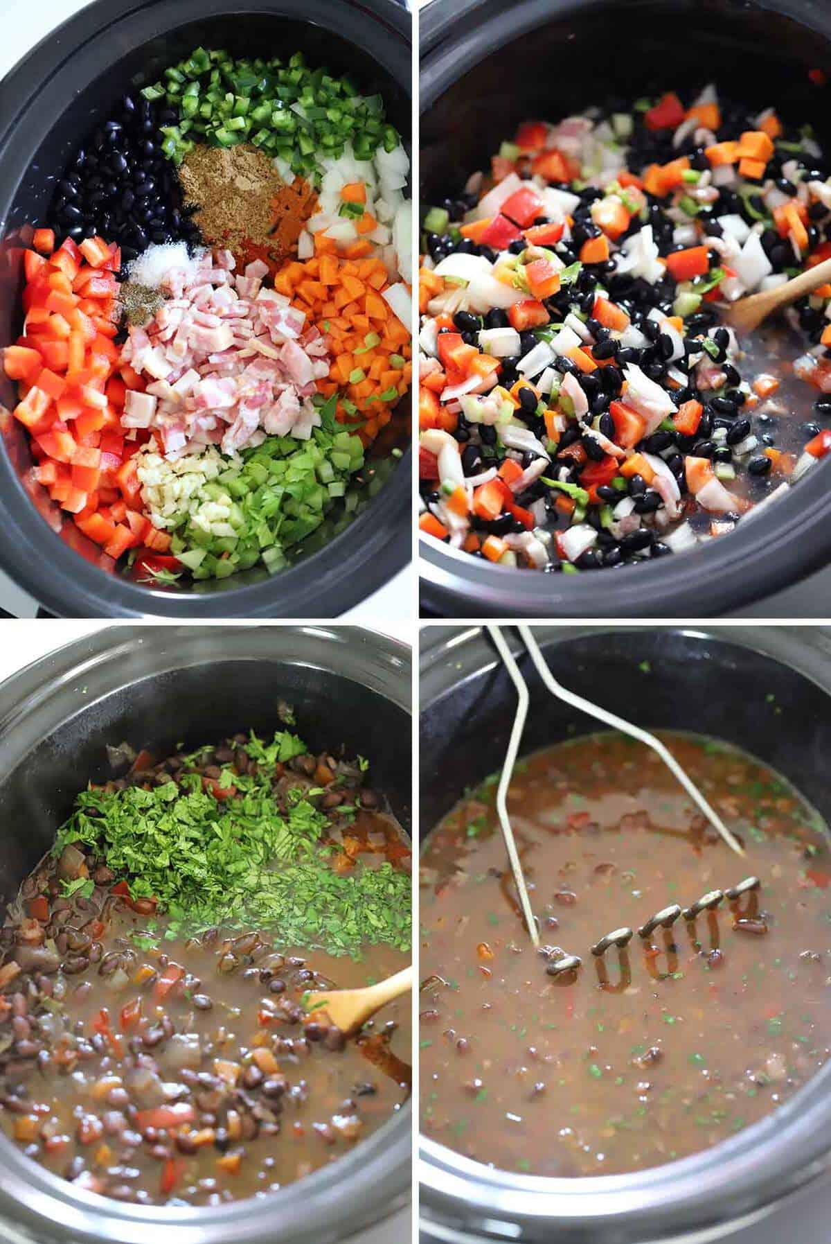 A photo collage showing the ingredients for slow cooker black bean soup before and after cooking.