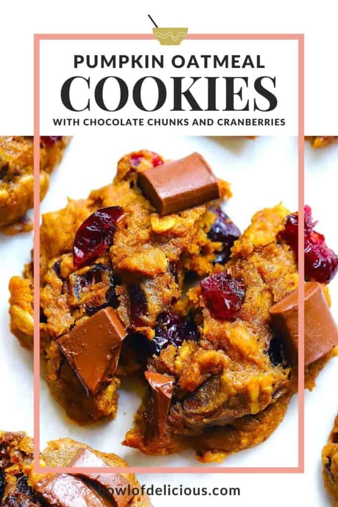 Pumpkin oatmeal cookies pinterest image