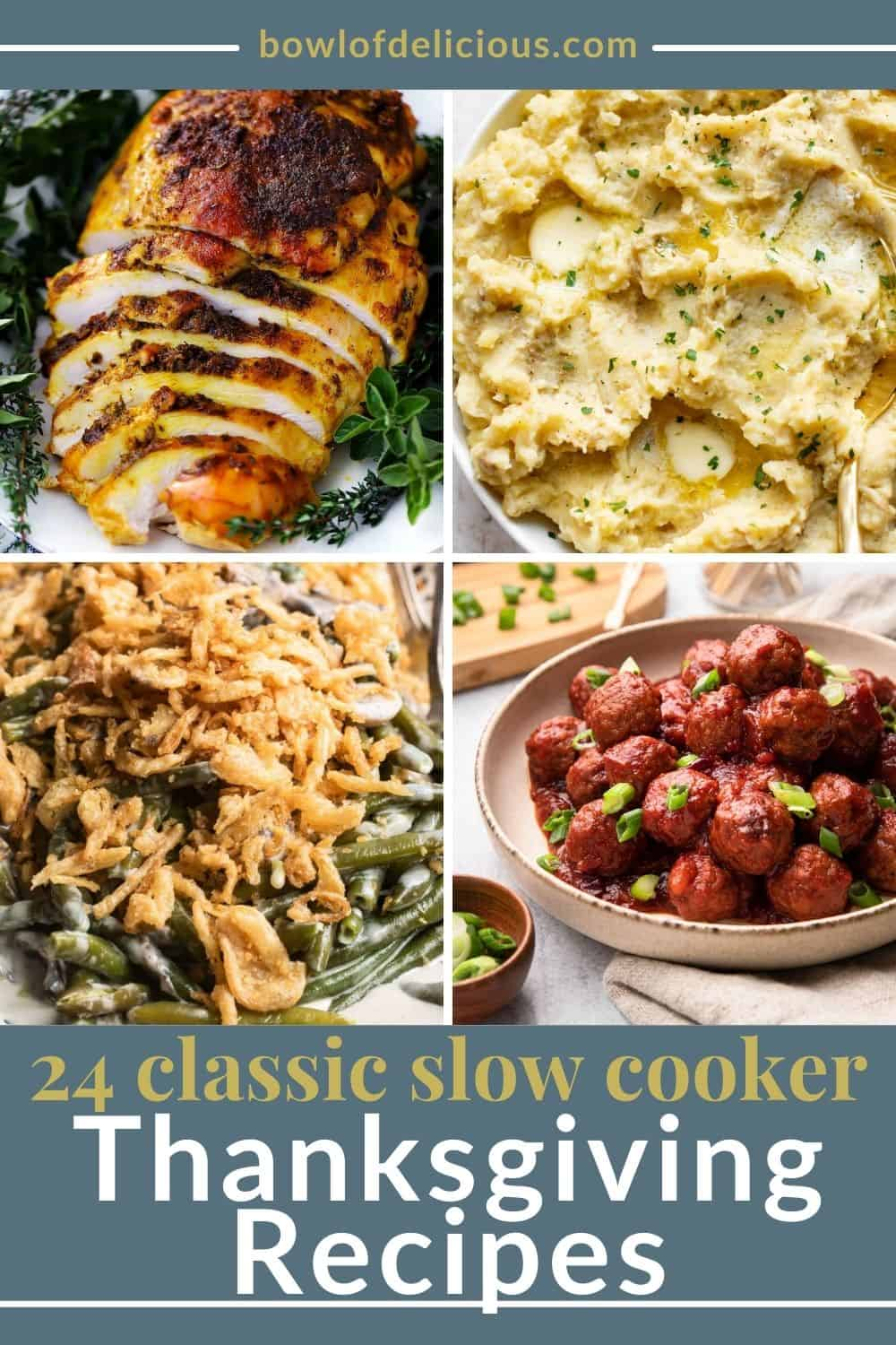 24 Classic Thanksgiving Recipes in your Crockpot | Save yourself time, energy, and oven space by making your favorite classic Thanksgiving recipes in your slow cooker! Everything from turkey to casseroles to dessert!