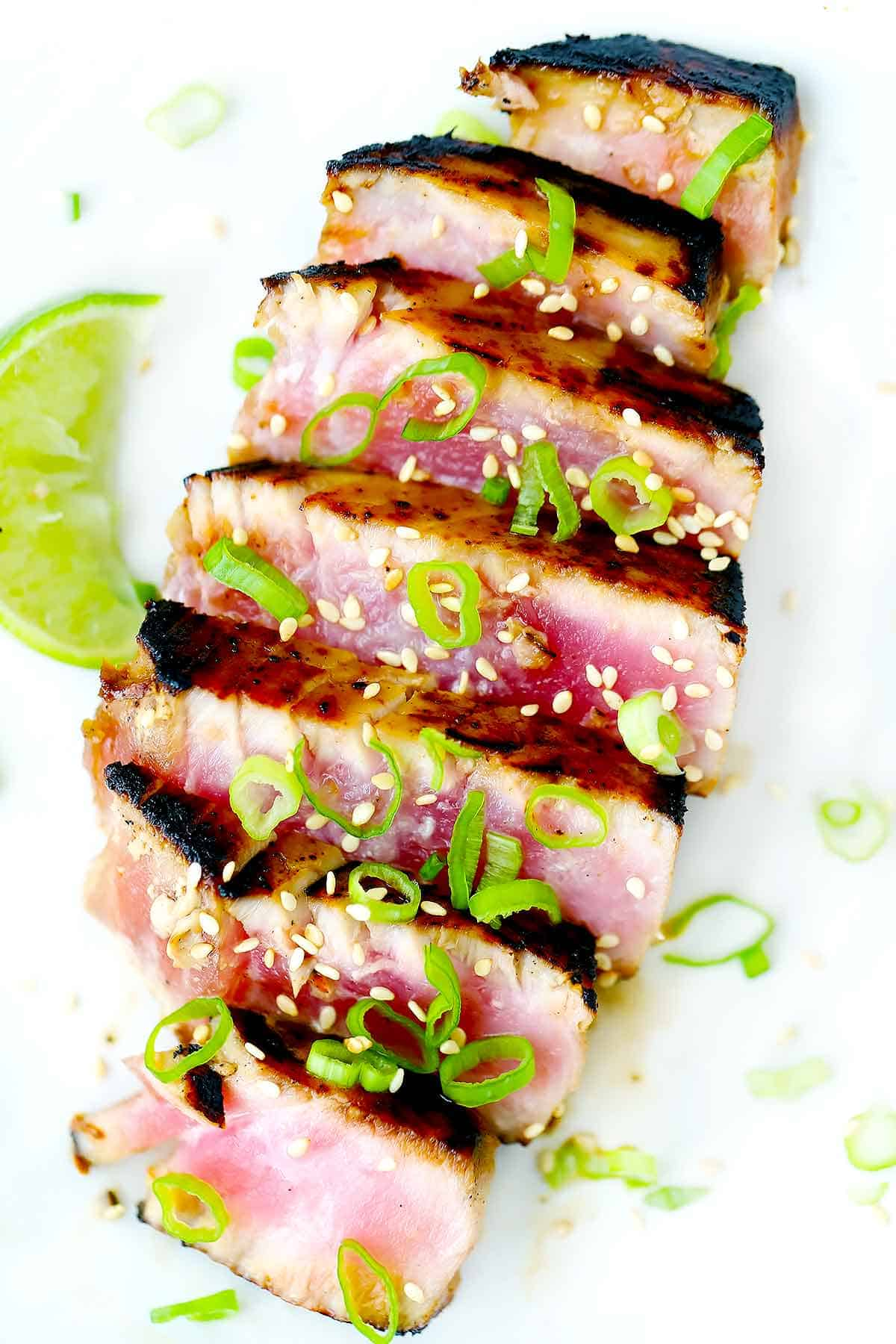 A close up photo of a seared ahi tuna steak