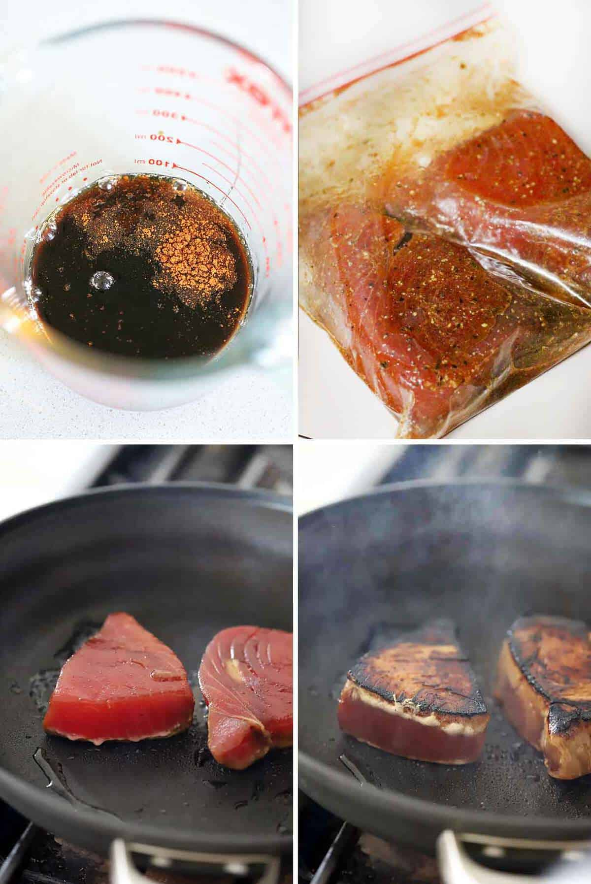 Ahi tuna steaks marinating and seared to medium rare in a nonstick skillet.