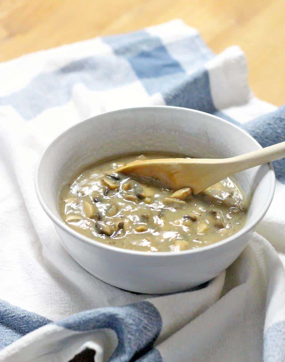 This mushroom gravy is AMAZINGLY easy to make and super tasty. Perfect for Thanksgiving, and vegan/vegetarian friendly!