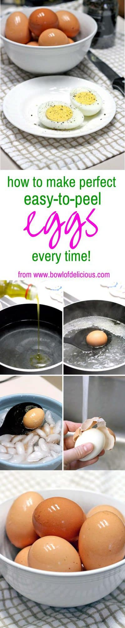Adding olive oil to the water ensure perfect boiled eggs EVERY SINGLE TIME! Because the eggshells are porous, the oil seeps into the shell and creates a barrier. The eggshell just slides right off every time!