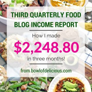 Third Quarterly Food Blog Income Report: $2,248.80