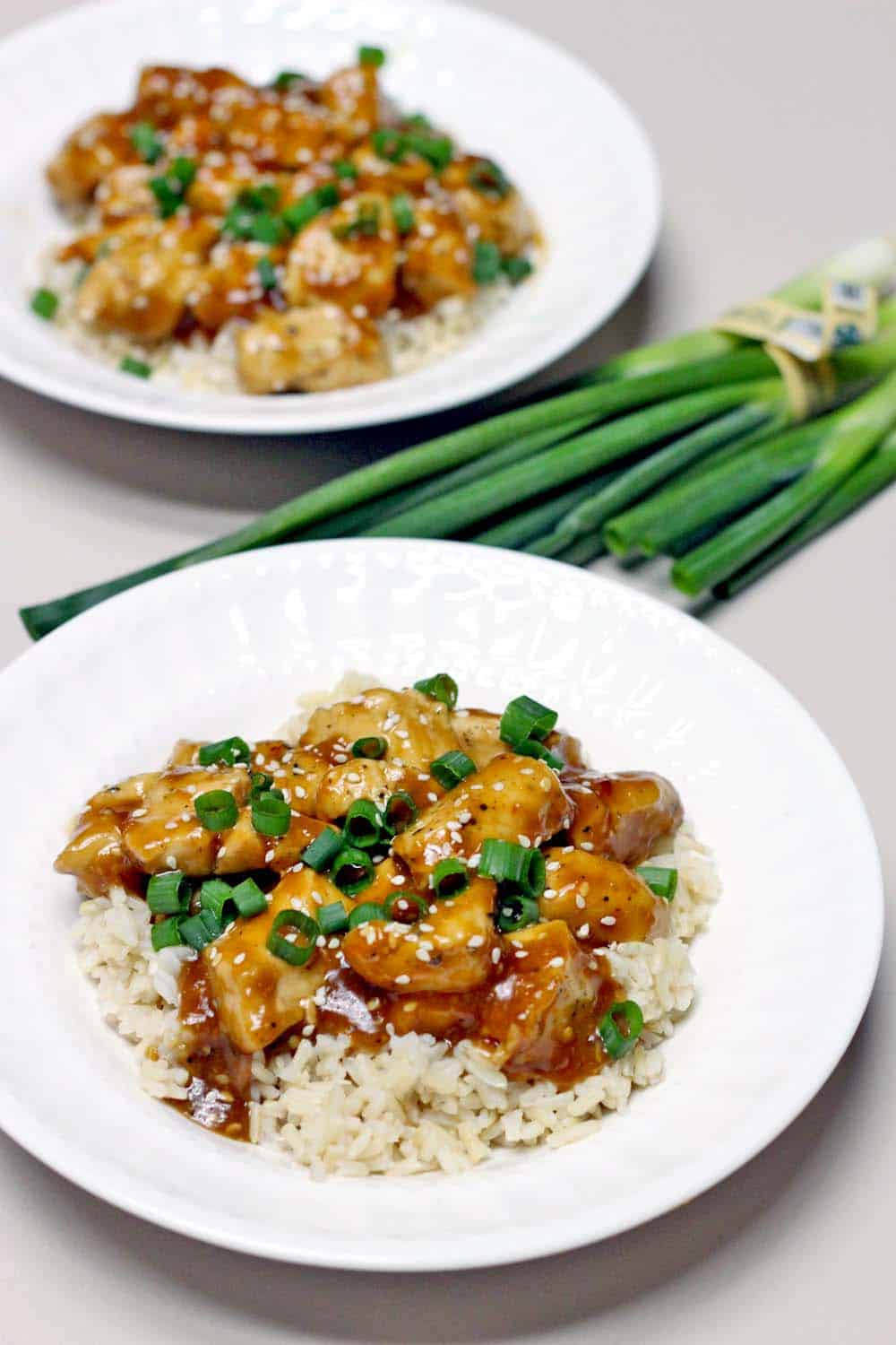 Skinny Orange Sesame Chicken   The skinny version of one of your Chinese take-out favorites, this orange sesame chicken is not deep fried so it's lighter and healthier. It's SO EASY to make at home in only twenty minutes!