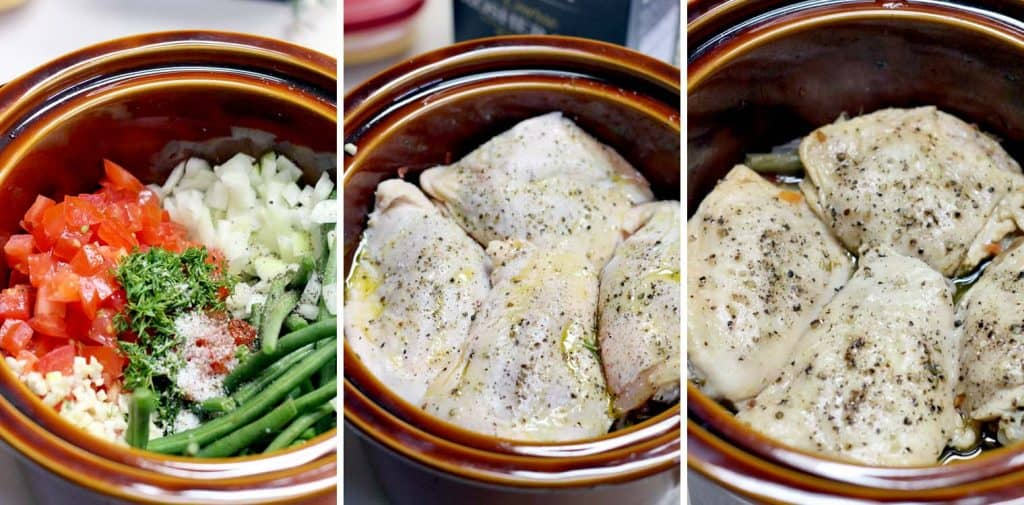 Slow cooker greek style green beans and chicken thighs slow cooker greek style green beans and chicken thighs is the ultimate one pot forumfinder Image collections