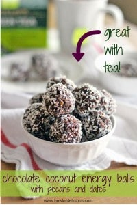 These Whole30 / Paleo energy balls are an AMAZING midday snack, and perfect to pair with afternoon tea! Sweetened only with dates, they taste decadent but are super healthy for you, and easy to make.