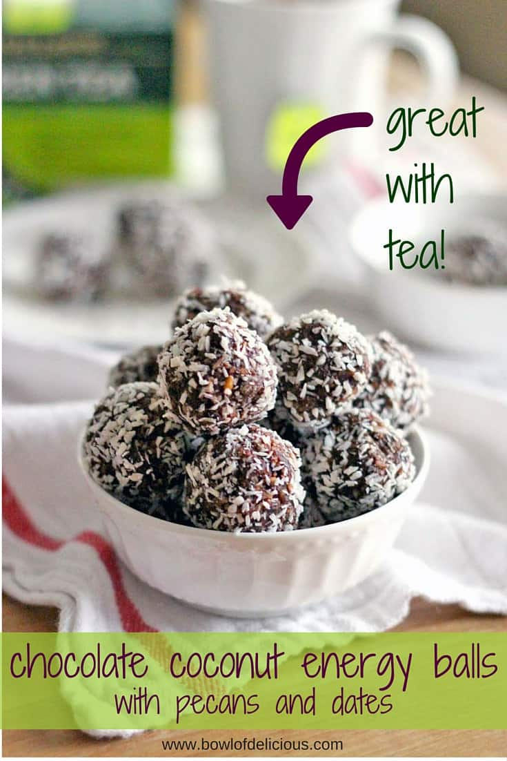 Chocolate Coconut Energy Balls (with Pecans and Dates) Bowl of