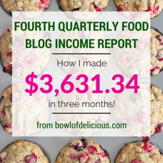 Fourth Quarterly Food Blog Income Report: How I made $3631.34 in Three Months