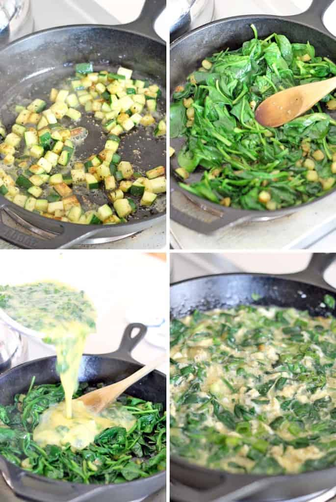 This Green Machine Zucchini and Spinach Frittata is packed with good-for-you veggies, Whole30/Paleo approved, and takes 10 minutes to make! A special trick is used to make it really quick and easy, and creamy- never dry.