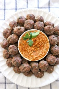 Paleo Greek Meatballs Keftedes and Romesco Sauce_4